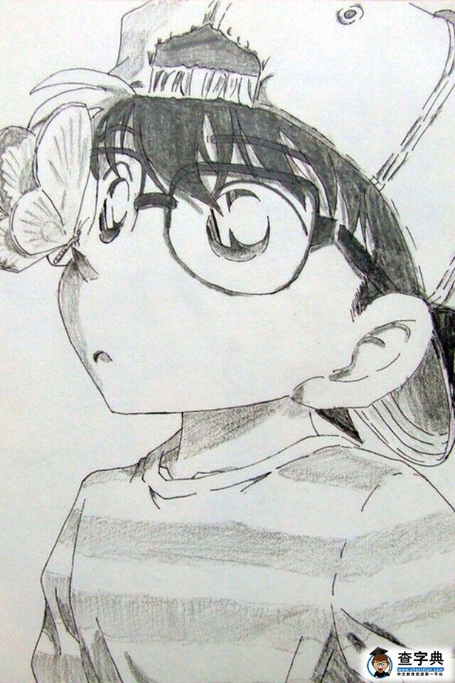 儿童动漫铅笔画图片 优雅的柯南